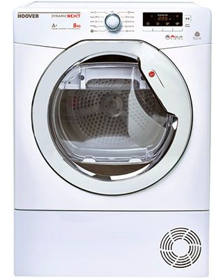 HOOVER DNHD813A2 £399.99 This brand new condenser tumble dryer comes with 10 years parts, 1 year labour warranty and is finished in pure white. Features a large drum and sensor drying with heat pump. Excellent A++ energy efficiency. http://bellsdomestics.co.uk/tumble-dryer-?pro_id=1126-Hoover-DNHD813A2
