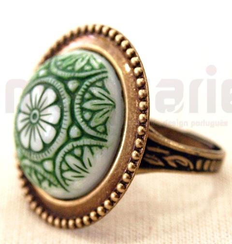 Czech Glass Mosaic Stone Cabochon Ring