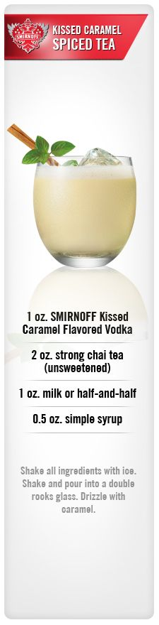 Smirnoff Kissed Caramel Spiced Tea drink recipe with Smirnoff Kissed Caramel Flavored Vodka, unsweetened Chai Tea, milk and simple syrup. #Smirnoff #drink #recipe #caramel #vodka #drinkrecipe #tea
