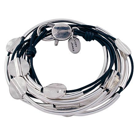 Lizzy James Jewelry Hammered Disc Bracelet Natural Black, Silver - Medium. 3 leather strands. Sterling silverplate. Handmade in USA.