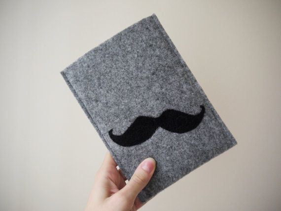 black mustache kindle cover! felt handmade kindle sleeve. kindle paperwhite cover. felt kindle cover. gray kindle etui. wool cover.