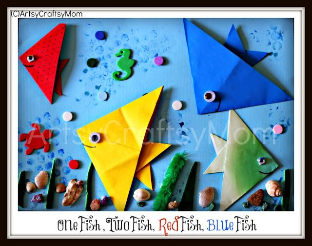 Origmai fish Dr Seuss One fish two fish . I may try this with my K's. Great for motor skills, coordination etc.... Oh, and it looks fun!