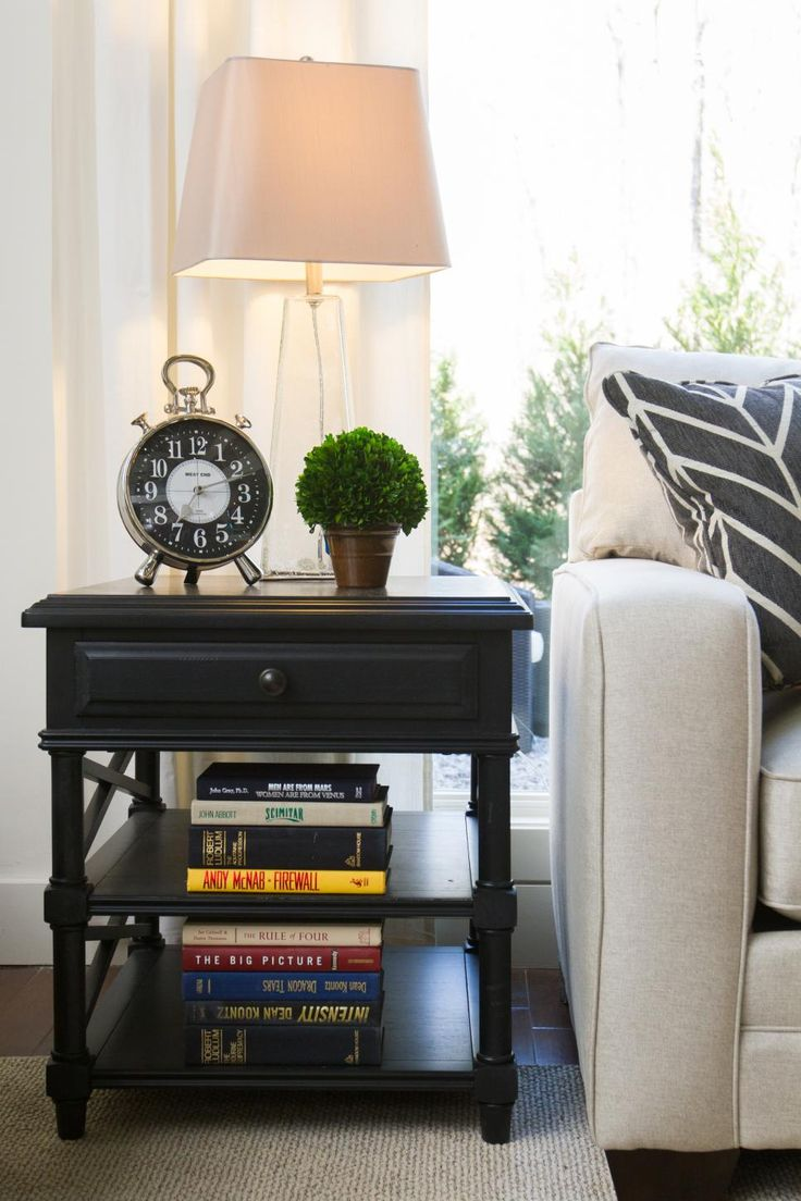 This Gorgeous Black End Table By HGTV HOME Features Two Open Shelves For  Storing Books And. Living Room ... Part 76