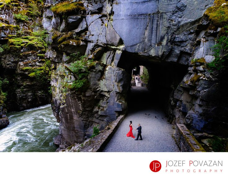 Best Award winning Vancouver wedding photographers Povazan Photography - Othello Tunnels Engagement Red Dress Pre Wedding shoot: Othello Tunnels Engagement Red Dress Pre Wedding shoot photographed by Vancouver wedding photographer Jozef Povazan Photography. Epic location great couple G+A rocked this dramatic scenery of tunnels, wild river and steep cliffs. Location: Othello Tunnels, Hope, BC V0X 1L0, Canada.