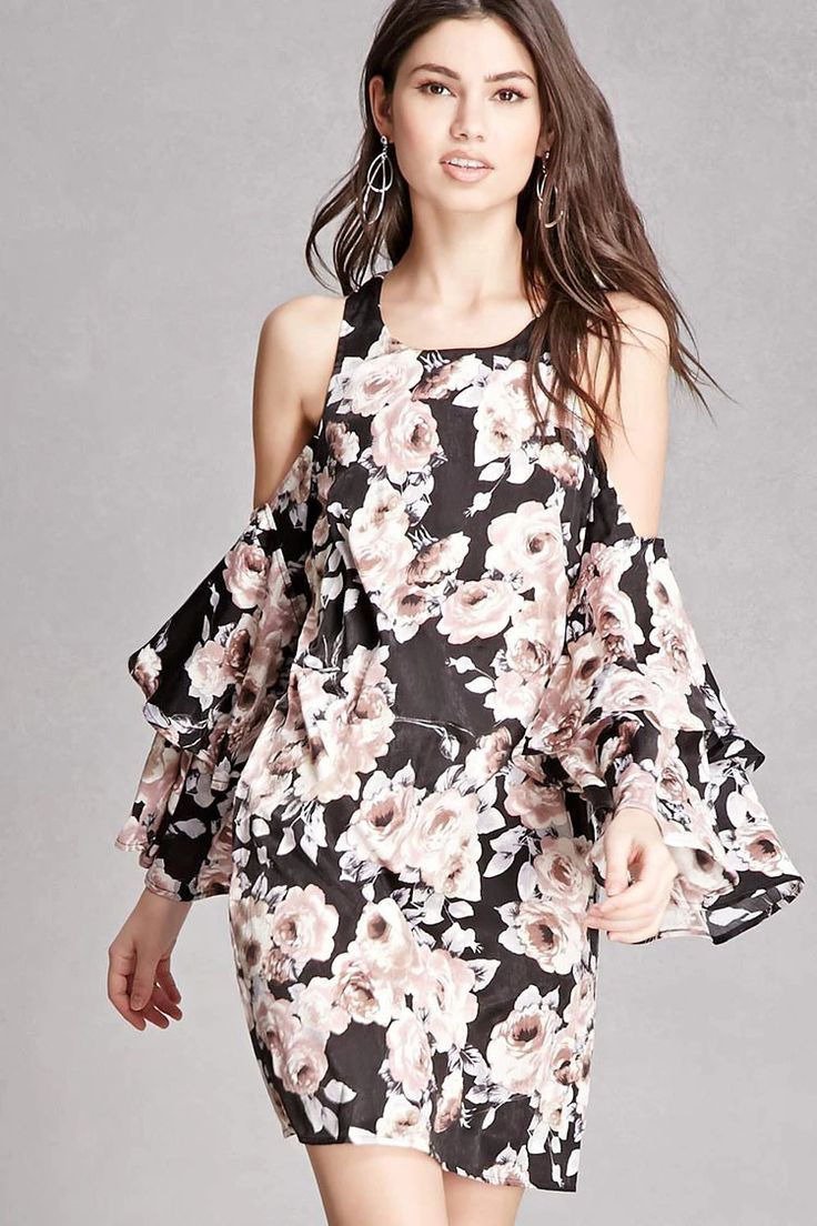 A satin woven dress featuring an allover floral rose print, a round neck with back keyhole button closure, open-shoulder design with long layered ruffle cuff sleeves, and a shift silhouette.  This is an independent brand and not a Forever 21 branded item.