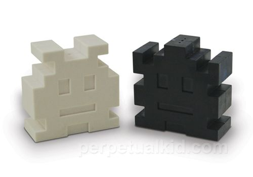 $13, RETRO ARCADE SALT & PEPPER SHAKERS  Add some geek chic to your dining table and impress anyone who was 'made in the 80s' with our Retro Arcade Salt & Pepper Shakers.  These pixelated killer condiment shakers are inspired by vintage computer arcade games and these little creatures will bring some nostalgic space age seasoning to any dining experience.    Have your very own intergalactic condiment battle to win the spice war!