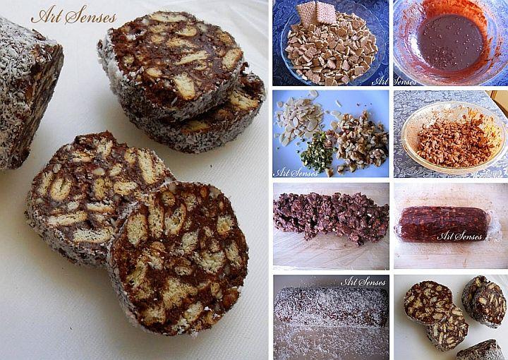 Шоколадова мозайка с бисквити - лесен, бърз и много вкусен десерт