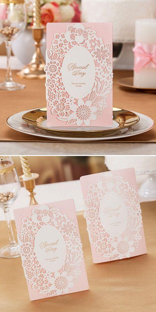Adorable blush pink laser cut wedding invitation