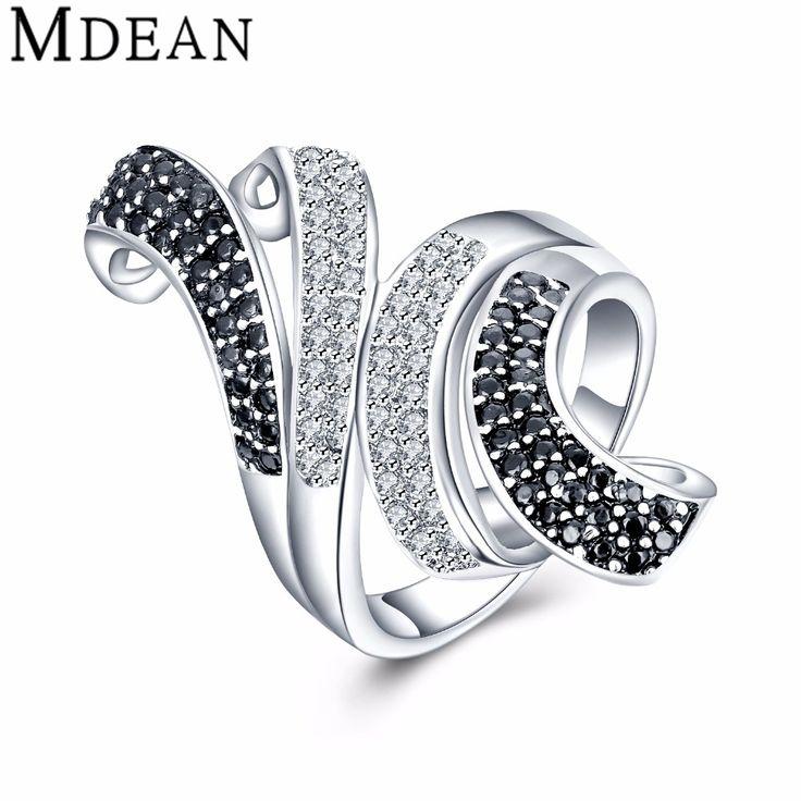 MDEAN Nuevo Oro Blanco Plateado para las mujeres Anillos de compromiso CZ diamante mujeres anillos de boda joyería de la vendimia Accesorios de moda MSR807