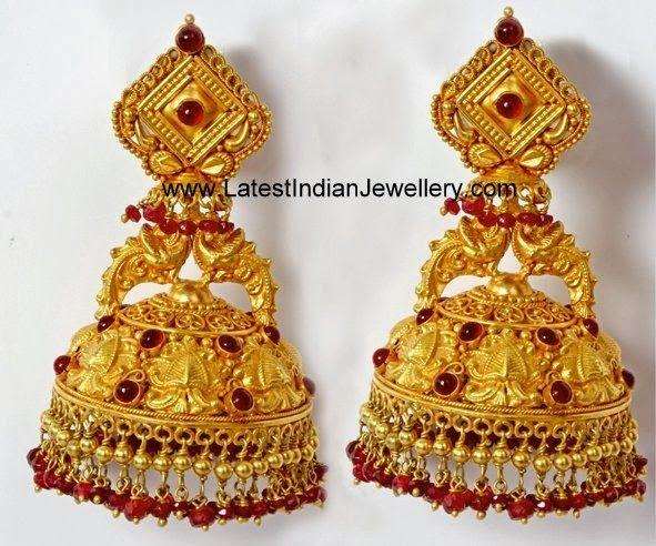 Latest Traditional Gold Jhumkas
