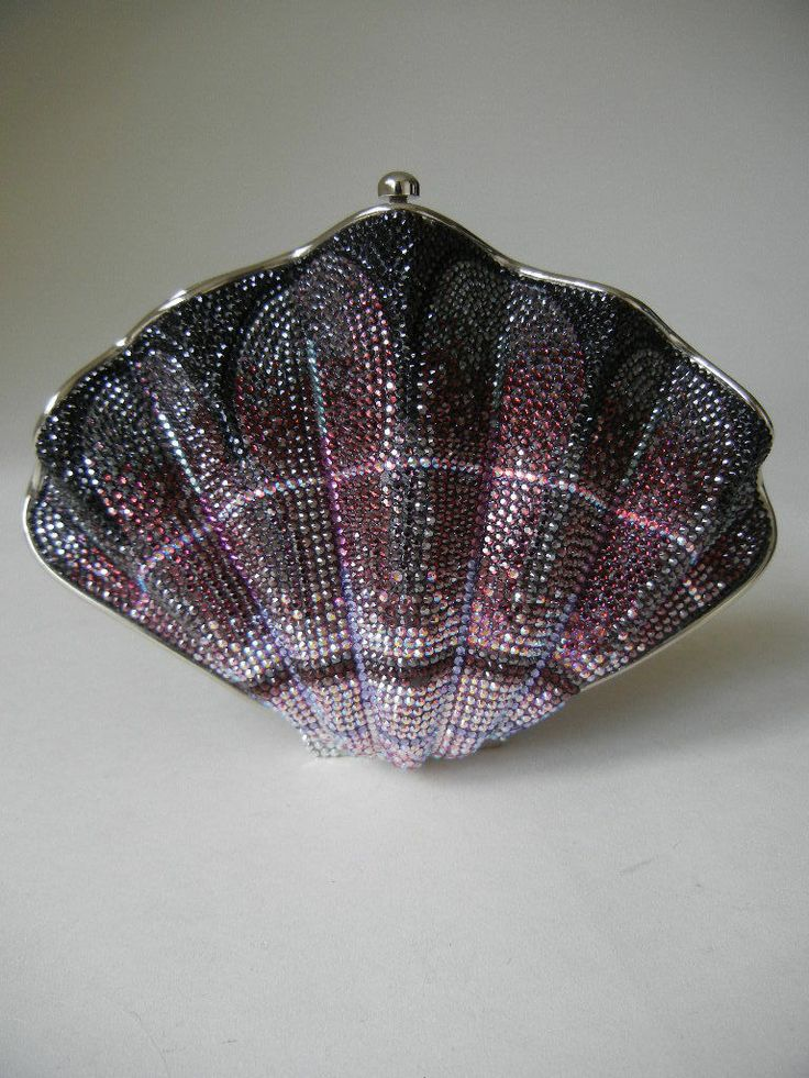 JUDITH LEIBER Minaudiere Novelty SEASHELL Crystal Clutch ...