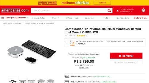 [Americanas.com] Computador HP Pavilion 300 - 202br Windows 10 Mini Intel Core 5 i5 8GB 1TB - de R$ 2.589,91 por R$ 2.463,99 (4% de…