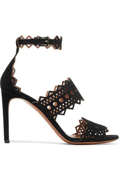 Alaïa - Laser-cut Suede Sandals - Black - IT40.5