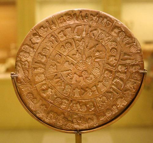 Phaistos Disc--discovered in 1908 by Italian archaeologist Luigi Pernier in the Minoan palace site of Phaistos. The disc is made of fired clay and contains mysterious symbols that may represent an unknown form of hieroglyphics. It is dated to the second millennium b.c.e.