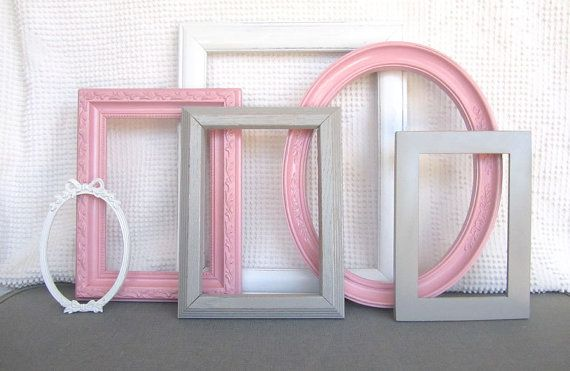 Pink Grey White Frame Set Custom Frames Open or by BeautiSHE: