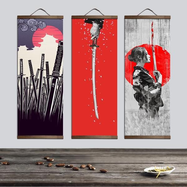 This Japanese Painting Is Done In A More Anime Style Design It Is Three Separate Pieces Of Japanese Samurai With A High Amount Of Contr Painting Art Interior