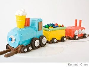 Train cake - so we have made this several times. I decided to swap out the frozen pound cake for a pumpkin roll and pumpkin bread - tastes a LOT better. Used cream cheese icing for the cake and dyed it different colors. This cake has been such a hit at several parties!