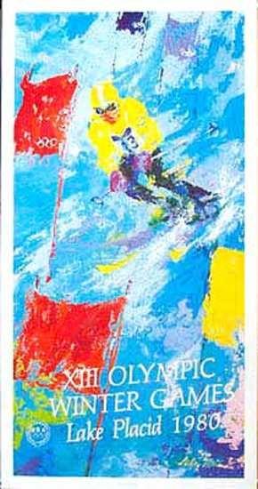 Vintage 1980 Lake Placid Winter Olympics Leroy Neiman Ski Poster  Date: 1980
