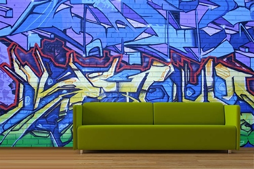 Blue Yellow Brick Wall Graffiti Wallpaper Art Paint Graffiti