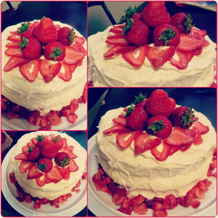 Two layer white strawberry cake. With vanilla icing. Cut up strawberries to your liking for decoration.