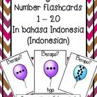 "Make simple yet effective flashcards which teach students numbers to 20 and how to ask 'how many?"" in Indonesian.  Colour and black/white versions...."