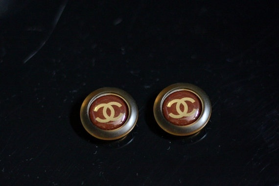 Brown Chanel Logo Buttons Handmade Stud Earrings by Bijouxhouse, $42.00