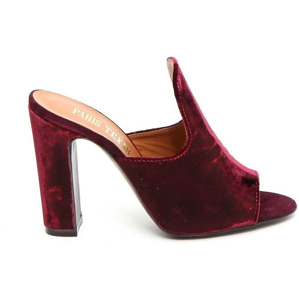 Velvet Mule ($200) ❤ liked on Polyvore featuring shoes, bordeaux, womenshoeshigh-heeled shoes, open toe shoes, high heel mule shoes, mule shoes, bordeaux shoes and block high heel shoes