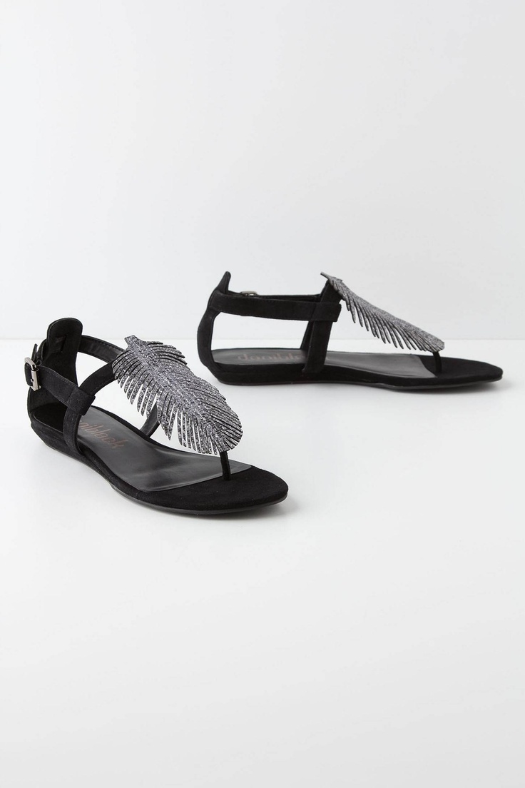 Argent Feathered Sandals - Anthropologie.com