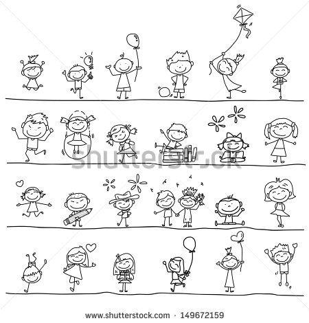 hand drawing cartoon happy kids playing