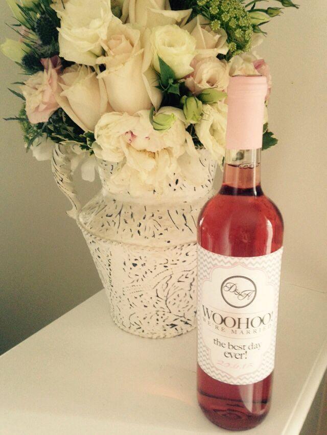 Woo hoo! We're married! Strawberry rhubarb home made wine