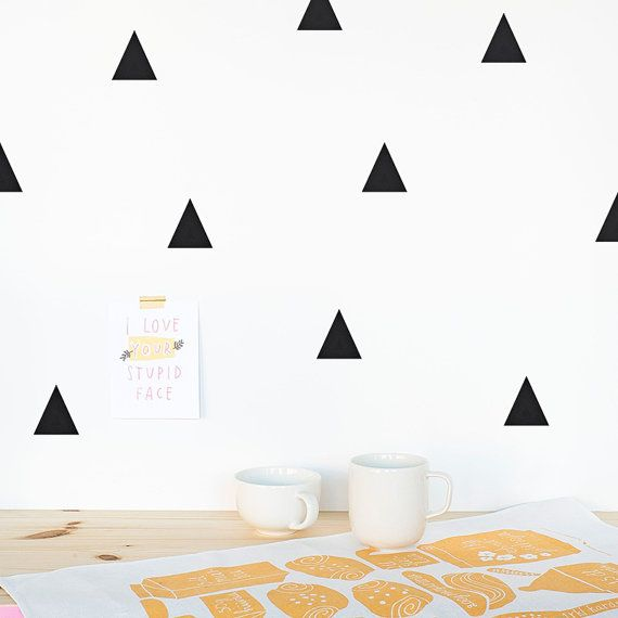 Triangle Wall decal Yellow / Wall Triangles Vinyl by MadeofSundays
