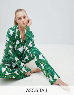 ASOS DESIGN Tall Banana Leaf 100% Modal Traditional Shirt & PANTS Pajama Set