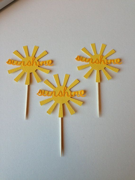 12 Sunshine You Are My Sunshine Cupcake Toppers by TheTinyToppery, $4.50