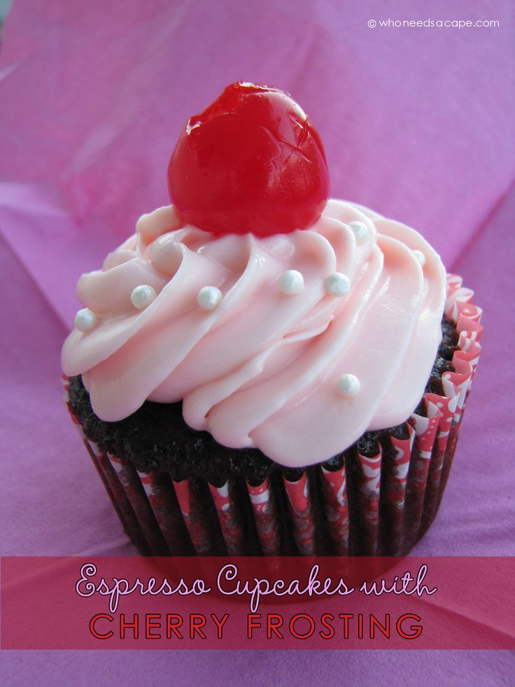 Espresso Cupcakes with Cherry Frosting | Who Needs A Cape? A wonderfully moist espresso cupcake with a sweet cherry frosting! Perfect for your sweetheart!