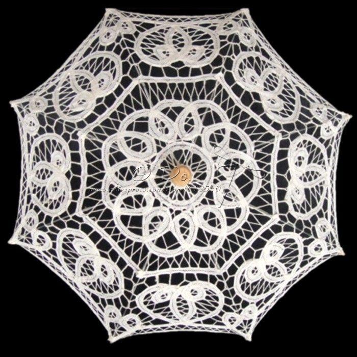 Бесплатная доставка 20 дюймов ручной вышивки хлопка белое свадебное кружева зонтик для девушки цветка свадебный декор свадебный зонтик купить на AliExpress