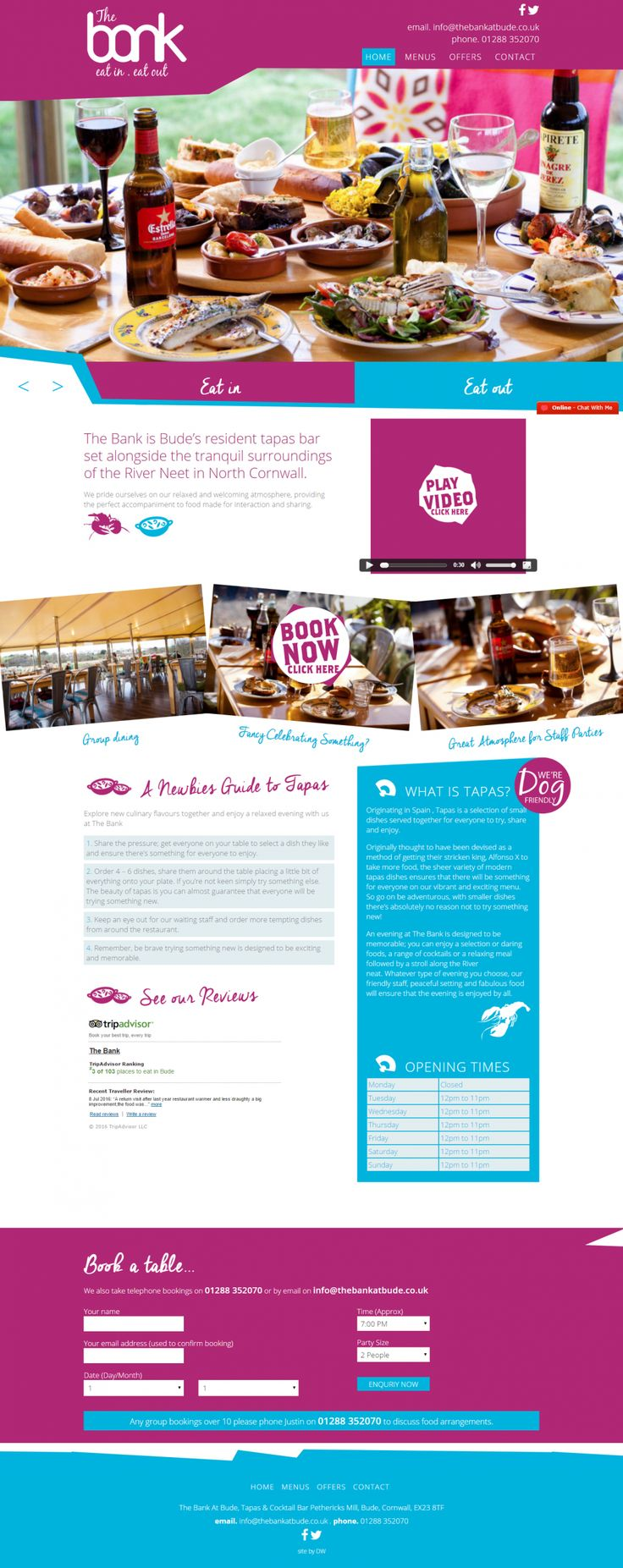 Cornwall Website Design for The Bank At Bude: Tapas and Cocktail Bar