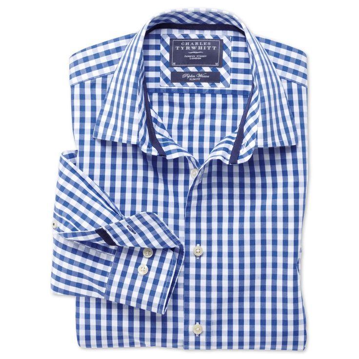Blue gingham weekend slim fit shirt slim fit casual for Mens dress shirts charles tyrwhitt
