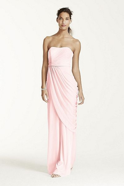 MORE COLORS Long Strapless Mesh Dress with Side Draping Style W10482 In Store & Online $159.00  davidsbridal.com