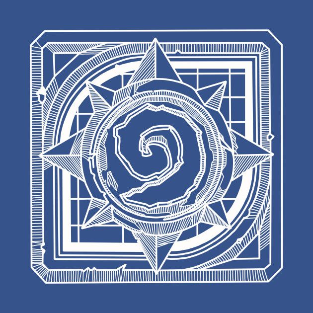 Hearthstone Logo White Lined  Take your best deck of cards and this shirt and dominate the competition.