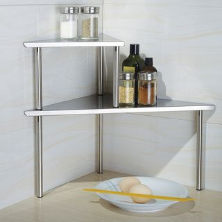 Cook N Home 2-Tier Corner Storage Shelf, Stainless Steel | Overstock.com Shopping - The Best Deals on Counter Accessories