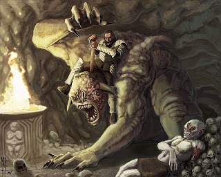 Beowulf follows Grendel's mom to her cave where she was going to kill him in revenge for her son's death. But Beowulf came out triumphant and killed her, with a bigger sword that was in her cave because his would not work on her.