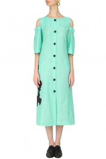 Dhruv Kapoor  Mint Cold Shoulder Shirt Dress  #happyshopping #shopnow #ppus