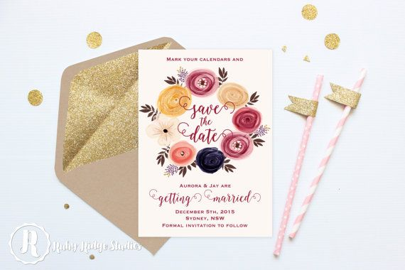 Printable Wedding Invitation Save the Date, Marsala Watercolor Floral, Bohemian Floral Style, DIY Printable Invitations Save the Date