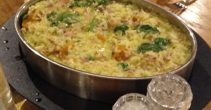 Chicken, Bacon, Pumpkin & Spinach Risotto