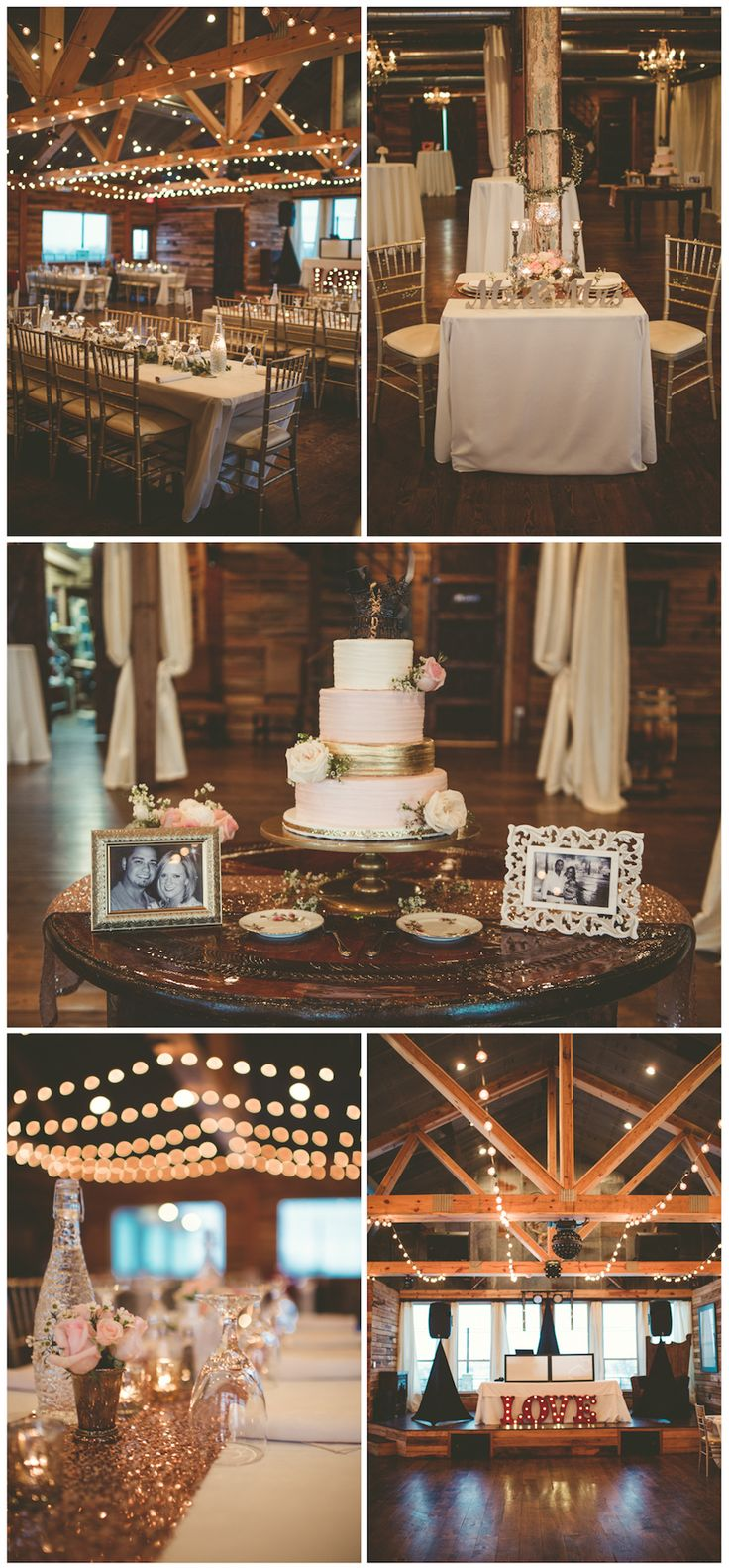 An Oklahoma barn wedding at Southwind Hills barn venue by Hibben Photography. Love the wedding cake with photos of the couple, edison lights strung in the rafters, & the LOVE marquee!