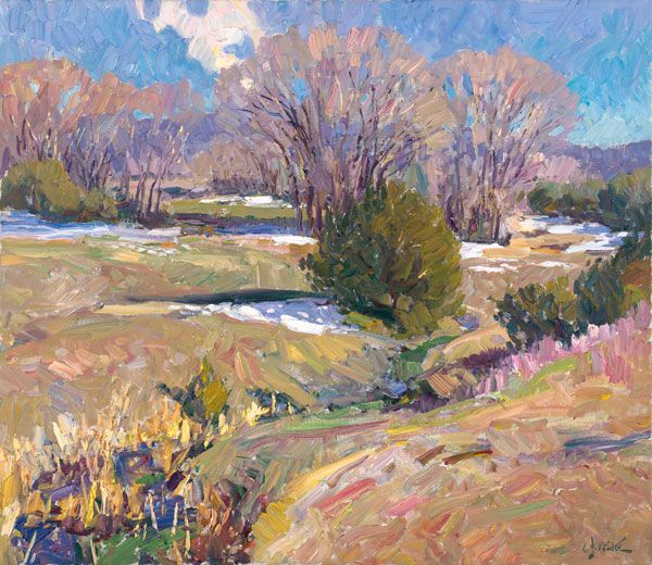Snow Patches by Walt Gonske, oil on linen, showing at the National Cowboy & Western Heritage Musuem in Oaklahoma City,