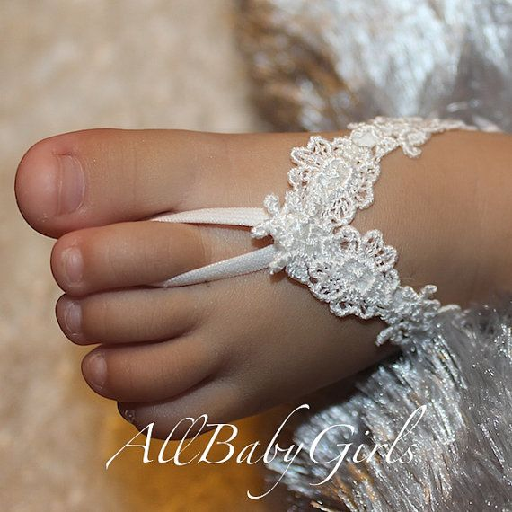 Flowers Lace White Baby Barefoot Sandals by AllBabyGirls on Etsy