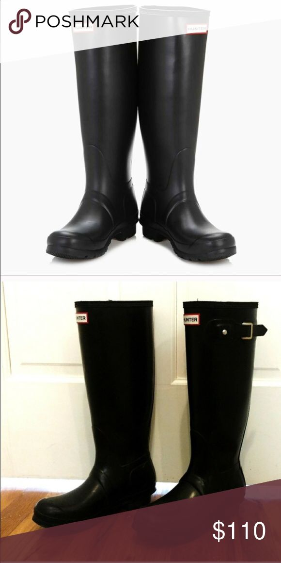 Tall Hunter rain boots Tall, glossy, size 9 women's rain boots. In great condition!! Just wanting to get a different color! Hunter Boots Shoes Winter & Rain Boots