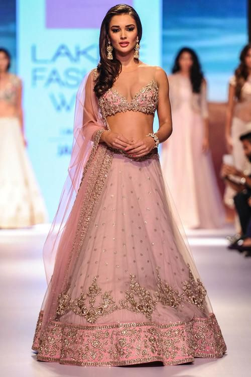 Amy Jackson showcases a creation by Anushree Reddy during the Day 6 of Lakme Fashion Week 2015 (LFW), held in Mumbai.