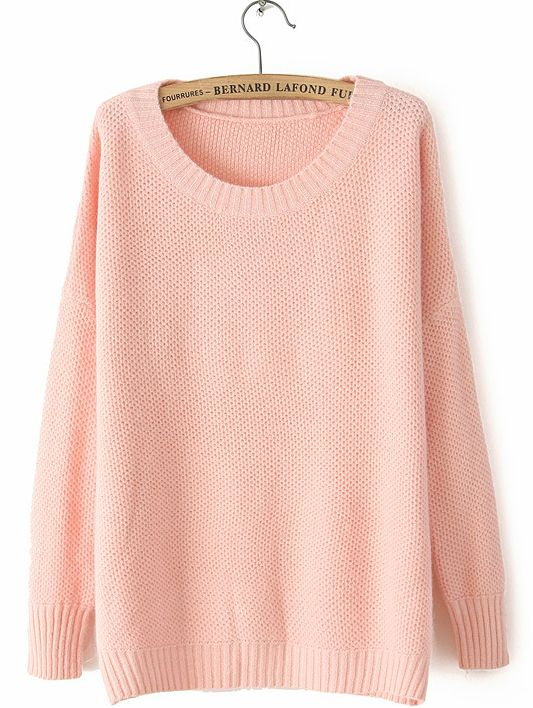 Light Pink Round Neck Long Sleeve Loose Sweater - Sheinside.com